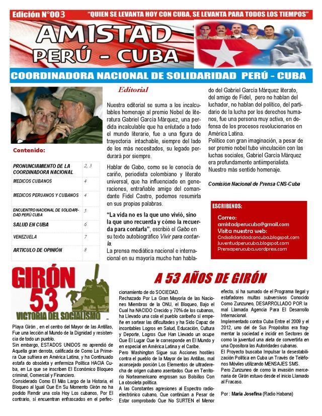 BOLETIN N003 AMISTAD PERÚ CUBA PORTADA