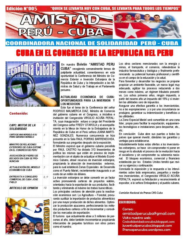 BOLETIN N005 AMISTAD PERU CUBA